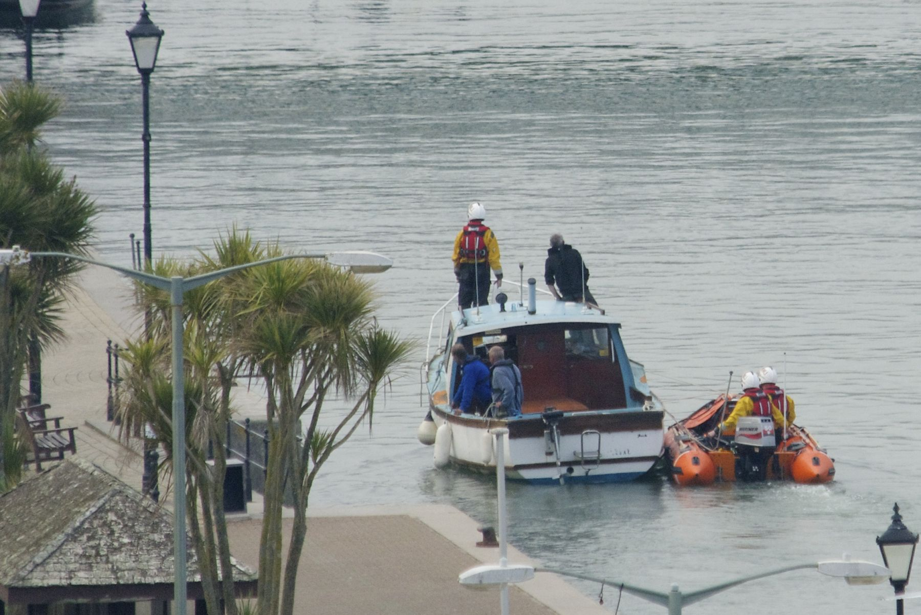 Motor boat with fuel leak towed from Torcross