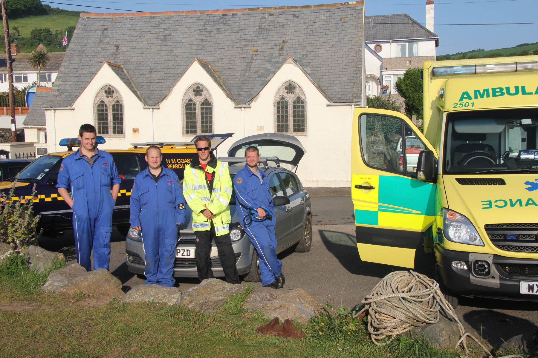 Prawle Coastguard team after the casualty was in the ambulance