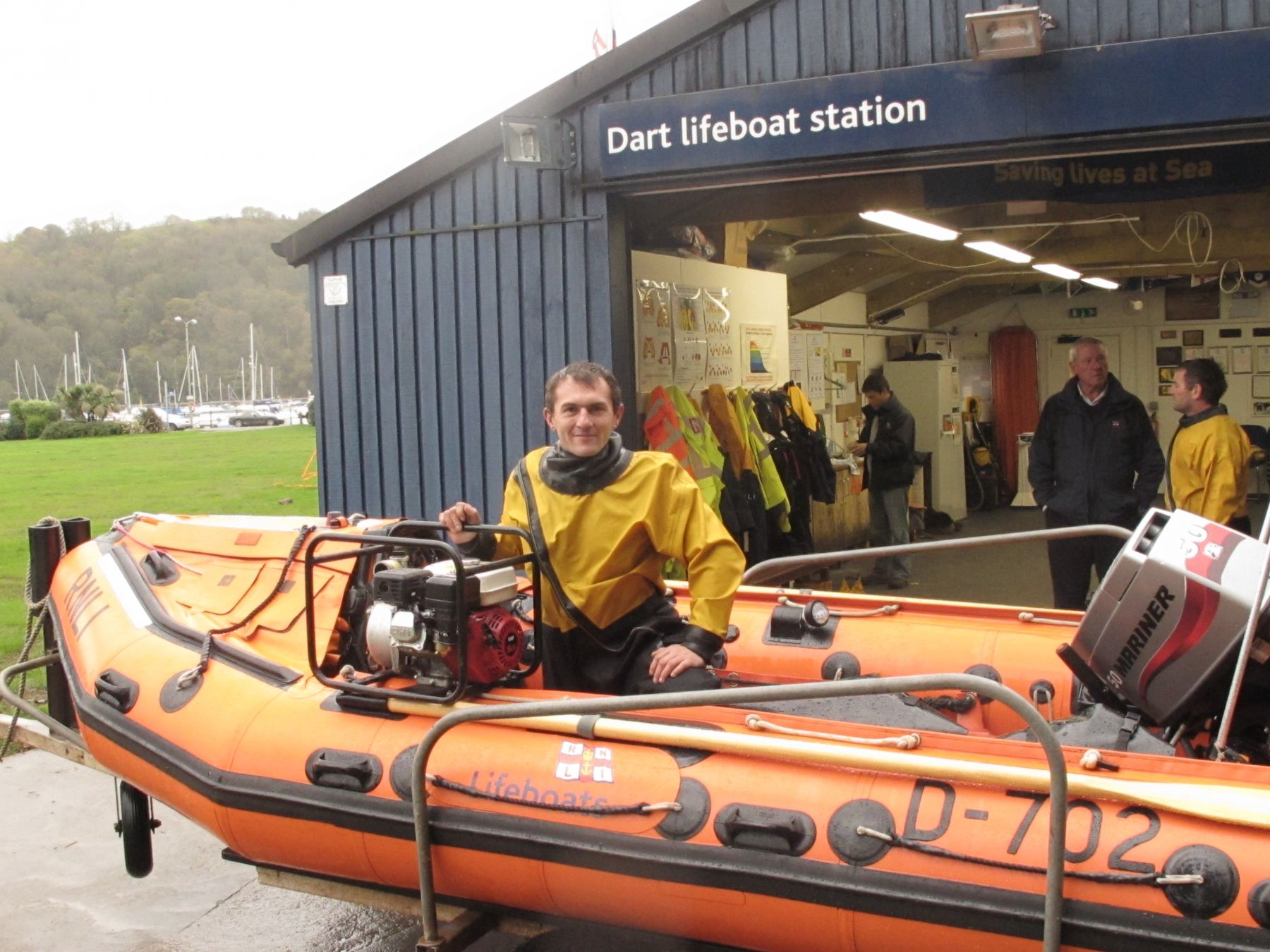 Dart crewman Steve Wallis with the salvage pump used on the launch
