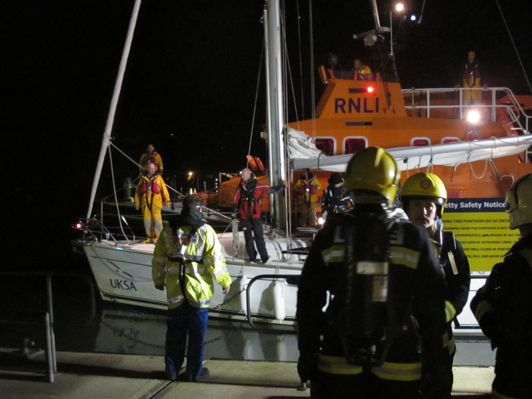Dartmouth Fire crew await arrival of 44ft yacht with earlier engine fire