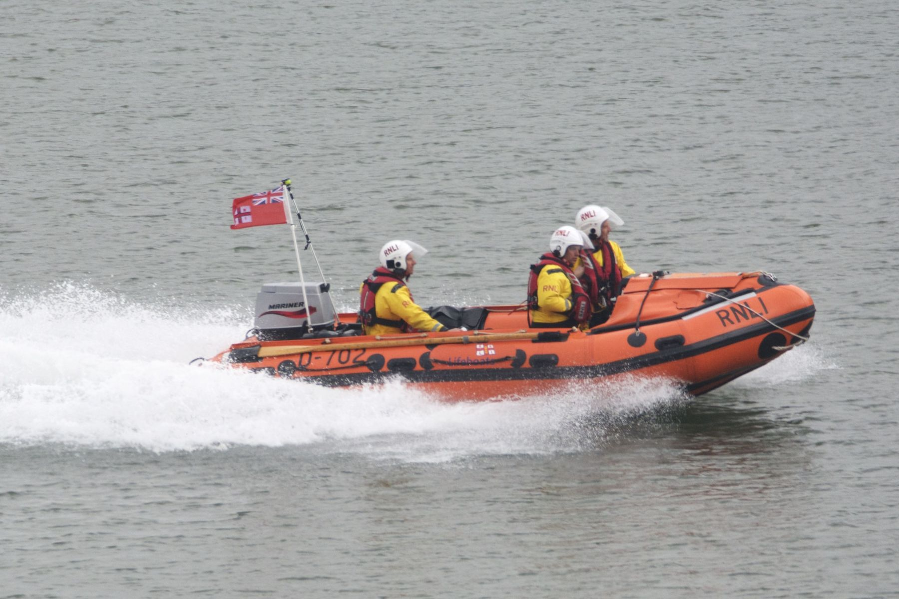 Dart RNLI D class lifeboat responding to report of a family trapped near Blackpool Sands