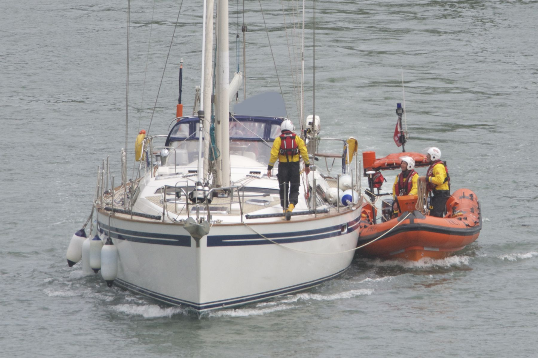 A 55ft Moody yacht developed engine failure and requested help.