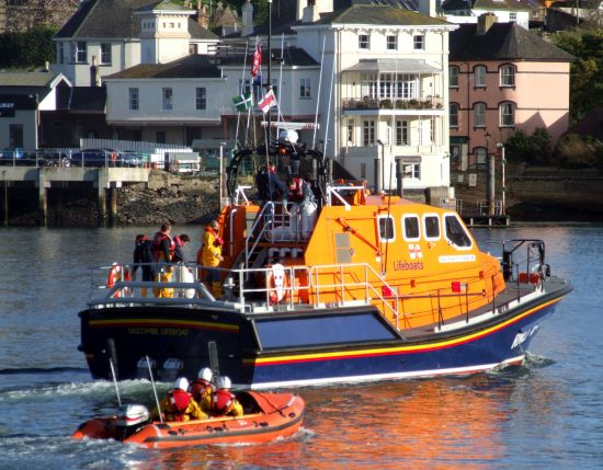 Tamar lifeboat 16 09 on her maiden voyage to Salcombe via Dartmouth in 2008